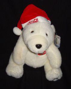 "Coca Cola Coke 1996 Polar Bear In Santa Hat 11"" Stuffed Animal Plushie #CocaCola"