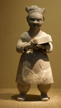 Male Pottery Figure with a box in hand. Han Dynasty BC 206-220