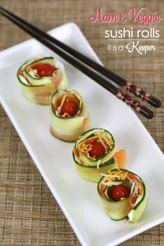 Ham and Veggie Sushi Rolls - these fun sushi inspired rolls are a fun lunchbox idea