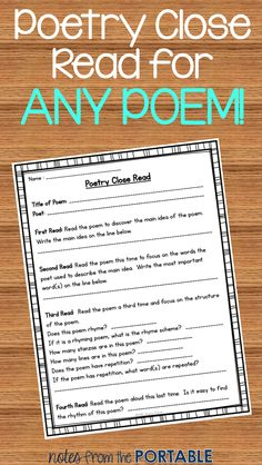 Love this poetry close read for any poem. Was a great addition to my literacy center! #teachingpoetry