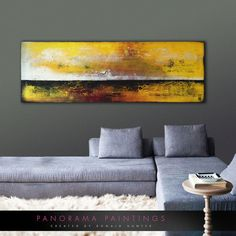 Landscape Abstract painting Yellow Black by PanoramaPaintings
