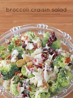 This amazing Broccoli Craisin Salad recipe includes broccoli, raisins, cole slaw, craisins and bacon. It's sweet and sour, crunchy and so very delicious - perfect for a side dish salad or as a potluck salad Best Salad Recipes, Summer Salad Recipes, Summer Salads, Lunch Recipes, Great Recipes, Cooking Recipes, Favorite Recipes, Healthy Recipes, Recipe Ideas