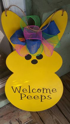 Check out this item in my Etsy shop https://www.etsy.com/listing/508214653/easter-bunny-welcome-peeps-door-hanger
