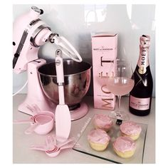 Champagne and cupcakes. I Love my Pink Kitchen Aid & Accessories!