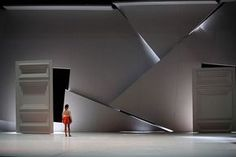 Stagedesign for MOMO/ a ballet for Staatsballett Karlsruhe, Germany Sebastian Hannak - The way this wall is shattered and lit behind makes it look almost more elegant than it would if whole. That, and the feel of this seems dangerous, sharp, tight. Stage Set Design, Set Design Theatre, Theater, Theatre Stage, Bühnen Design, Design Research, Scenic Design, Art Mural, Stage Lighting