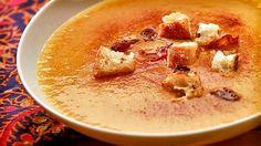 Crema de garbanzos con pan frito #soup #bisque #chickpeas #spanish
