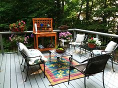 This beautiful deck area overlooks the sandy beaches of Lake Michigan.