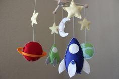 Baby Mobile - Baby Crib Mobile - Rocket Ship Nursery Mobile - Spaceship Mobile - Planets Mobile (You can pick your colors) $85