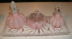 1940's Depression Glass   Depression glass / 1940's Vintage Fenton Art Glass Pink Perfumes ...