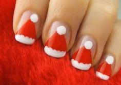 Christmas nails Santa hat
