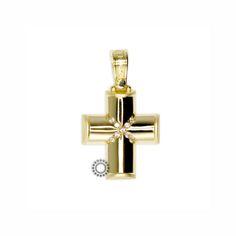 Ένας κλασσικός και βαρύς σταυρός γυναικείος ή βαπτιστικός του οίκου ΤΡΙΑΝΤΟΣ από χρυσό Κ14 με δύο σταυρωτές σειρές ζιργκόν.