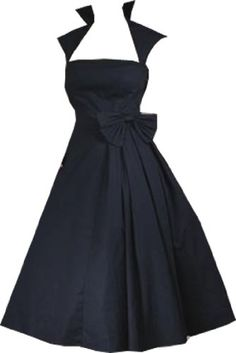 Pretty Kitty Fashion 50s Black Swing Bow Dress Was: £59.99 Now: £34.99