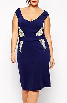 $19.89 Fiona World Womens Plus Size Navy Lace Applique Boat Neck Midi Dress Fiona World http://www.amazon.com/dp/B015WCFWHQ/ref=cm_sw_r_pi_dp_dKEcwb0RTQM01
