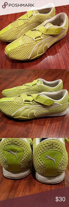 Puma Cell criss cross velcro shoes neon green 7 Amazing condition Puma Shoes Athletic Shoes