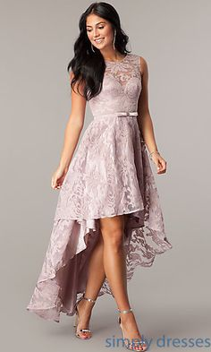 Shop high-low party dresses at Simply Dresses. Sleeveless semi-formal lace dresses with sweetheart linings and back keyholes for homecoming parties.