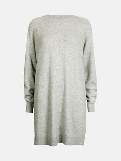 Long fine knit sweater in soft quality. Contains 10% wool. Harmaa