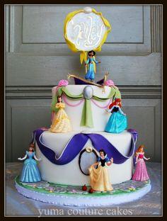 Disney princess cake from Yuma Couture Cakes, AZ. Disney Princess Birthday Cakes, 4th Birthday Cakes, Princess Cakes, Monkey Birthday, Birthday Fun, Birthday Ideas, Couture Cakes, Dessert Drinks, Desserts