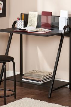 Benevento Black Desk-Stool Set by Southern Enterprises Inc. on @HauteLook