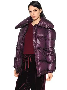 NINA RICCI - OVERSIZED SHINY HABUTAI DOWN JACKET - DOWN JACKETS - BORDEAUX - LUISAVIAROMA - Oversized collar. Front snap button closure . Elastic cuffs . Drawstring at hem . Embroidered logo at back hem. Two side pockets . Duck down feather filling . Lined . Cut for an oversized fit . Sample size: 36