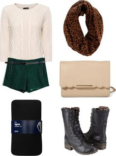 Cable knit sweater, emerald green wool shorts and biker boots. Love!