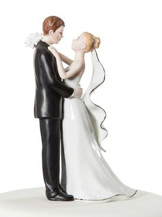 White and Silver Porcelain Bride and Groom Wedding Cake Topper Figurine * Additional details at the pin image, click it @ : Baking tools