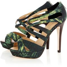 Tropical print sandal ($195) ❤ liked on Polyvore