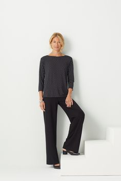 The Wearever Sleeve Boat-Neck Top paired with the Wearever Smooth Fit Full-Leg Pants. Wrap Sweater, Sweater Shirt, Shirt Outfit, Fashion Over 50, Work Fashion, Fashion 2018, Sewing Alterations, Wide Leg Pants, Wide Legs