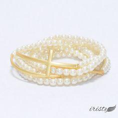 Stacked Bead Bracelet with Sideways Cross