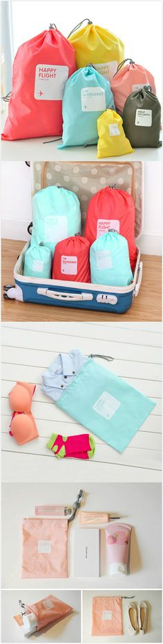 Casual 4 PCS Nylon Waterproof Beam Port Storage Bag Clothes Shoes Cosmetic Bag Travel Bag