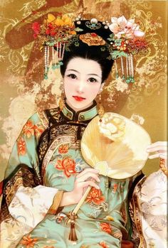Chen Shu Fen (陈淑芬 -is from: Xiangtan City, Hunan Province, China Unicom. Painting illustrations illustrator 56 national figures, and they are all hand-painted paintings. Chinese Painting, Chinese Art, Chinese Kunst, Jiang Qing, Art Asiatique, Qing Dynasty, Chinese Culture, Asian Art, Female Art