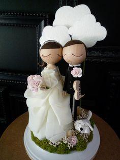 Wedding Cake Topper with Custom Wedding Dress by MilkTeabyBthanari