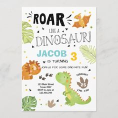 Roar Dinosaur birthday invitation Dino Party Boy - tap/click to get yours right now! #ad #boy #birthday #invite #dinosaur Birthday Cards For Boys, First Birthday Parties, Birthday Party Themes, 2nd Birthday, Birthday Ideas, Birthday Crafts, Disney Birthday, Birthday Nails, Dinosaur Birthday Invitations