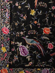 Buy Black-Multi-Color Rose and Bird Gara Crepe Silk Parsi Gara Saree Online at Jaypore.com