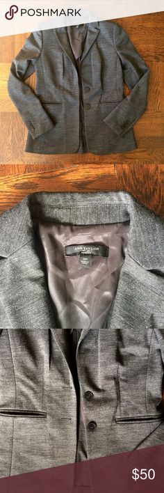 Classic Ann Taylor Charcoal Grey Knit Blazer Super classic and chic styled Blazer made from high quality charcoals grey knit. This jacket is a longer Blazer style with two buttons closure. Fabric has 33% wool! Perfect condition. No pilling. Two front pockets and darts for a chic tailored look. Partially lined. Bust: 17 in. across when flat and buttoned. Waist: 16 in. across. Shoulders: 17 in. across. Sleeve:24 in. Total length: 24.5 when flat. Ann Taylor Jackets & Coats Blazers