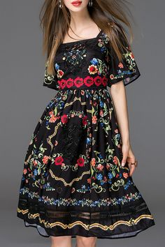 By megyn Black Embroidery Bell Sleeve Flare Dress | Knee Length Dresses at DEZZAL
