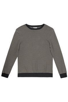 Long-sleeved organic Fairtrade cotton jumper, striped with round neck.