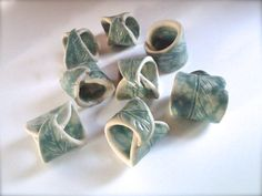 Leaf Napkin Rings by PotterySong on Etsy, $24.00