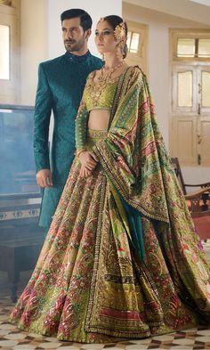 Make your wedding memorable in designer bridal lehenga choli Pakistani Wedding Outfits, Indian Bridal Outfits, Indian Bridal Lehenga, Pakistani Wedding Dresses, Bridal Mehndi Dresses, Wedding Lehnga, Sabyasachi Lehenga Bridal, Silk Lehenga, Silk Dupatta