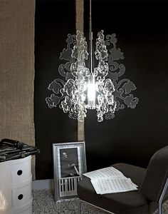 Anastacha Light - Providing an understated elegance to any room, Anastacha's rendering of this lavish form in laser-cut plexiglas adds traditional beauty without overpowering modern elements. Through its unique construction, light not only focuses downwards, but also emanates throughout the room, allowing Anastacha to serve as the main source of light or as a design accent. Available in black or transparent plexiglas.