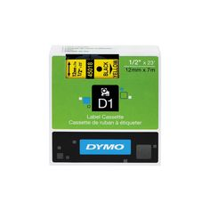 Dymo D1 Standard Tape Cartridge for Dymo Label Makers, 1/2in x 23ft, Black on Yellow