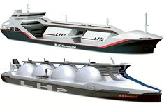 WHILE politicians and environmentalists are on a collision course over plans to build a coal gasification plant at Hastings, Kawasaki Heavy Industries is already building a test vessel to carry liquefied hydrogen. The ship now being developed by the Japanese company is designed to carry 2500 cubic metres of the gas which will be produced...
