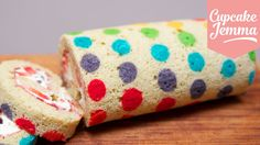 How to make a Rainbow Polka Dot Swiss Roll | Cupcake Jemma