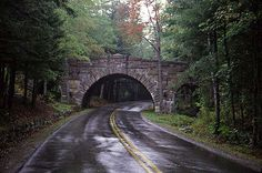 Rainy Day Cobblestone Bridge-Maine