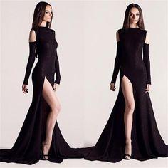 Long Sleeves Open Back V-neck Slit Front Black Mermaid Prom Dress