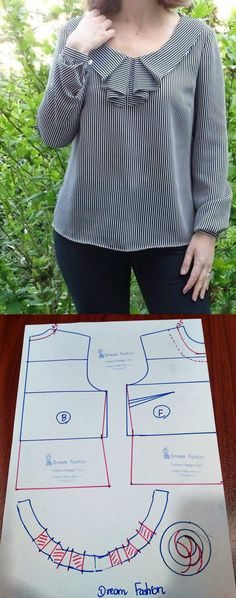 Blouse Styles, Blouse Designs, Dress Design Sketches, Bodice Pattern, Corporate Wear, Dress Sewing Patterns, Sewing Basics, Short Tops, Fashion Sewing