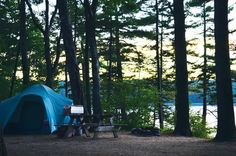 Campsite overlooking the water at Recompence Campground