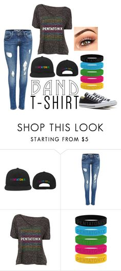 """""""I'm With the Band"""" by heatherchristine1408 ❤ liked on Polyvore featuring Converse, bandtshirt, bandtee and pentatonix"""