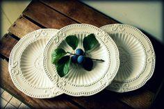 A fine art photograph of rustic plum plates. Beautifully arranged.