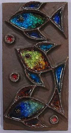 Mid Century Modern Tile Plaque with Fish
