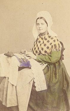 Belgium Traditional Fashion hand colored Photo 1870
